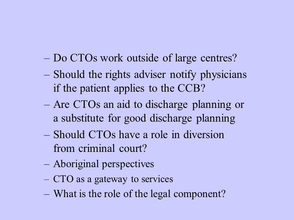 Do CTOs work outside of large centres