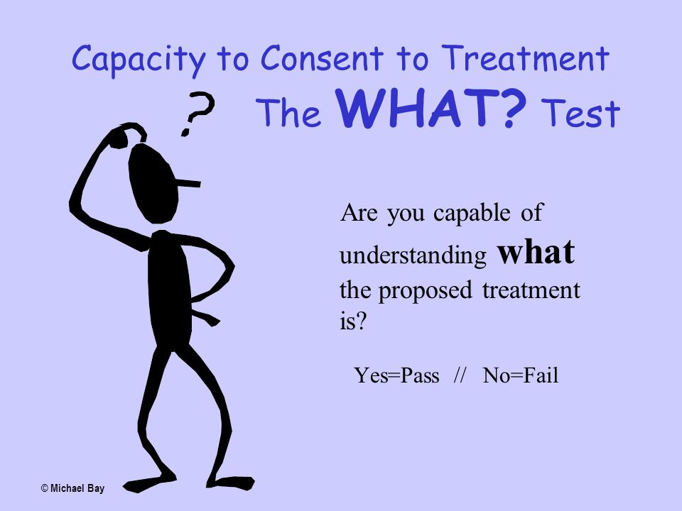 Capacity to Consent to Treatment The WHAT Test