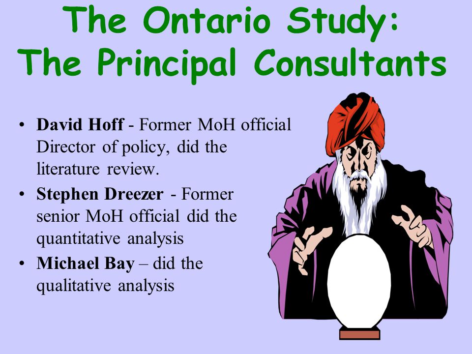 The Ontario Study: The Principal Consultants