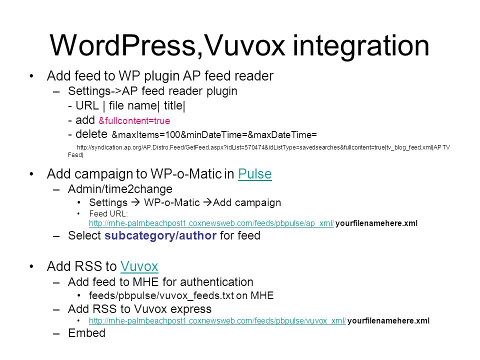 WordPress,Vuvox integration