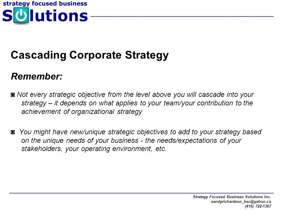Cascading Corporate Strategy