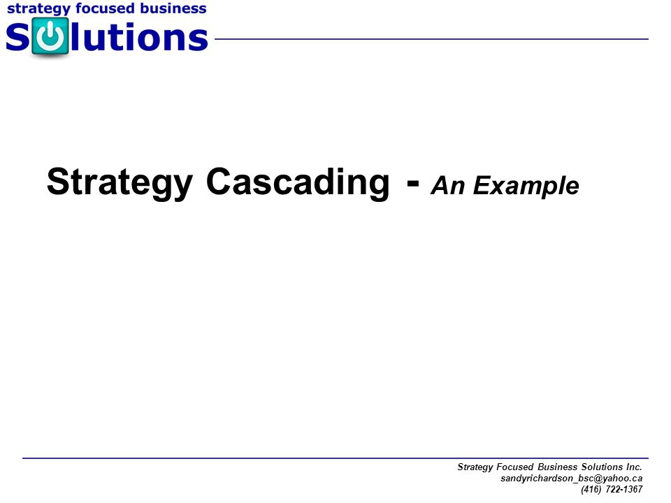 Strategy Cascading - An Example