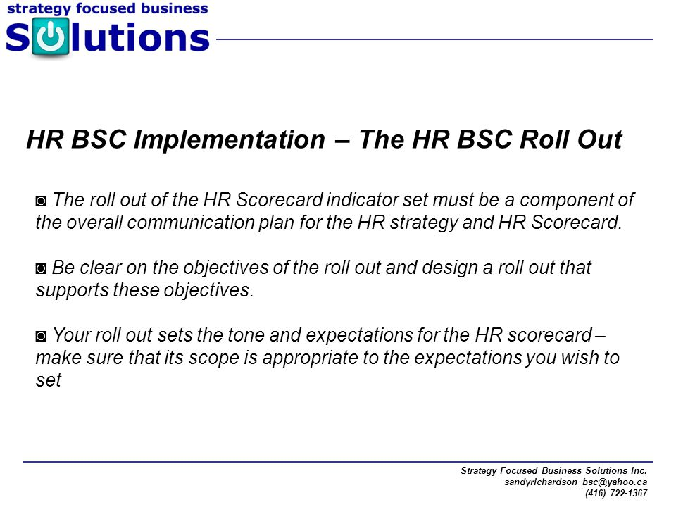 HR BSC Implementation – The HR BSC Roll Out
