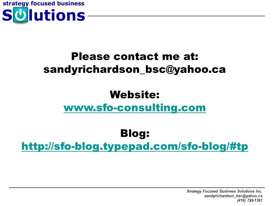 Please contact me at: sandyrichardson_bsc@yahoo.ca Website: