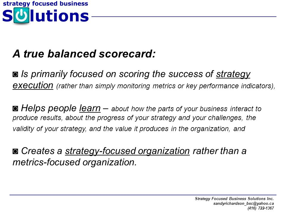 A true balanced scorecard: