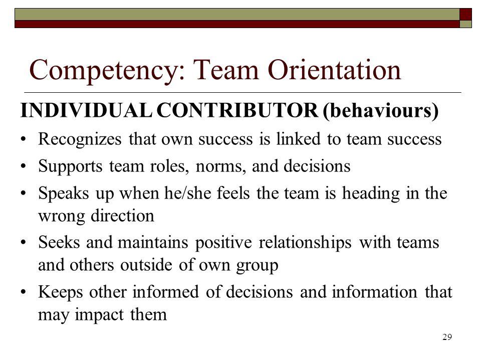 Competency: Team Orientation