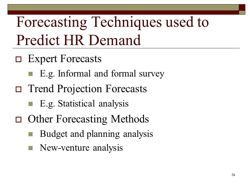 Forecasting Techniques used to Predict HR Demand