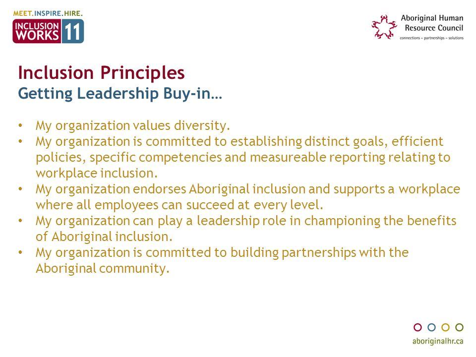 Inclusion Principles Getting Leadership Buy-in…