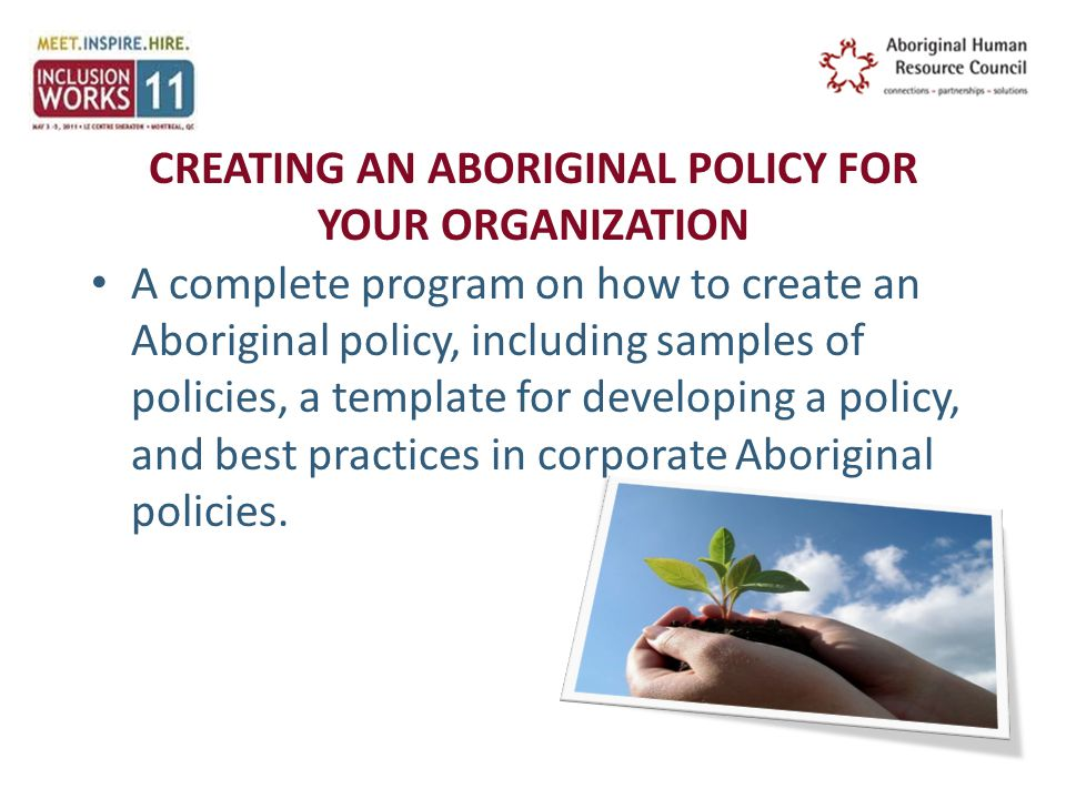 CREATING AN ABORIGINAL POLICY FOR YOUR ORGANIZATION