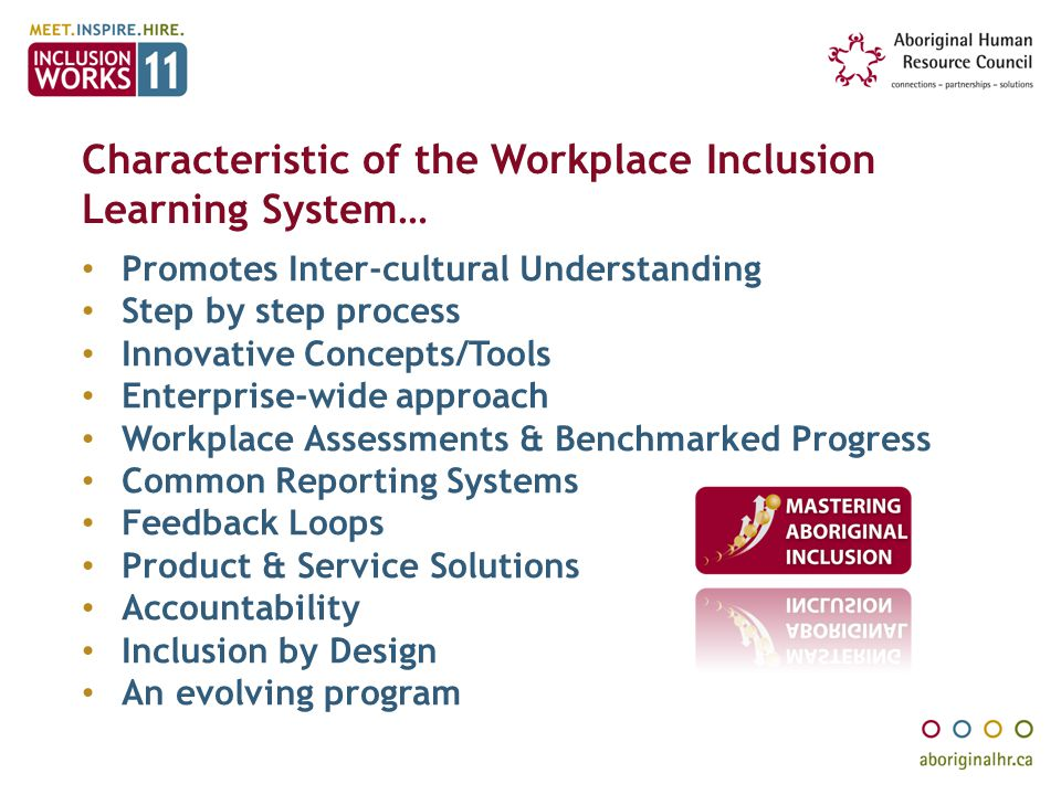 Characteristic of the Workplace Inclusion Learning System…