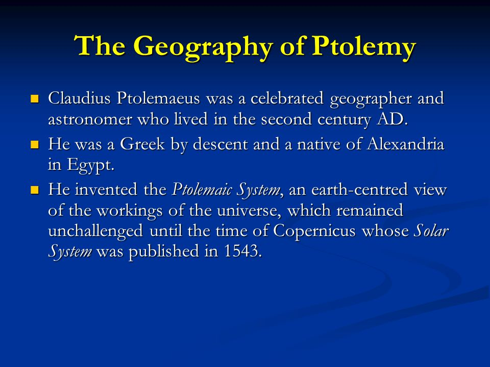 The Geography of Ptolemy