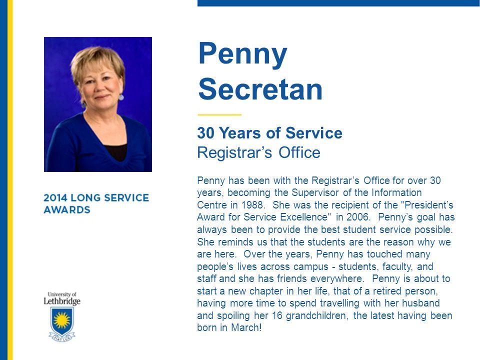 Penny Secretan 30 Years of Service Registrar's Office
