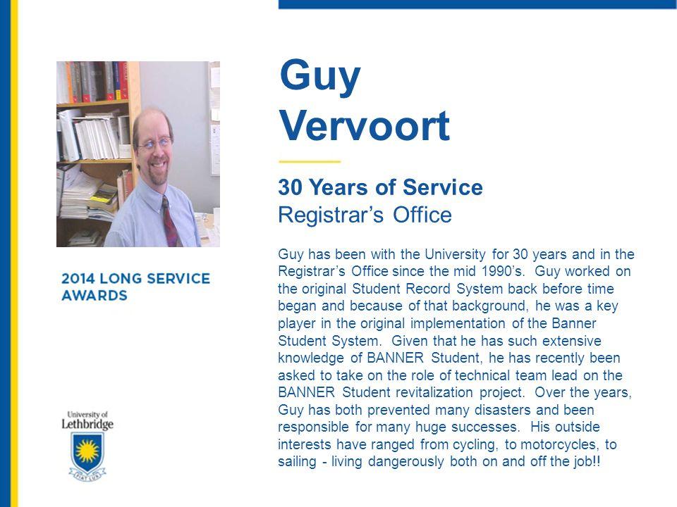 Guy Vervoort 30 Years of Service Registrar's Office