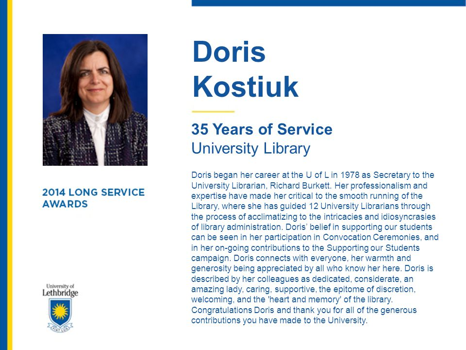 Doris Kostiuk 35 Years of Service University Library