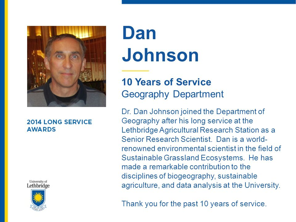 Dan Johnson. 10 Years of Service. Geography Department.