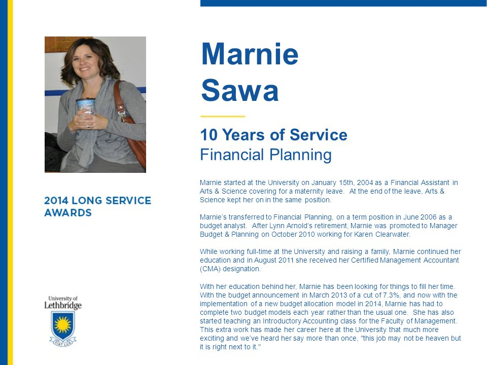 Marnie Sawa 10 Years of Service Financial Planning