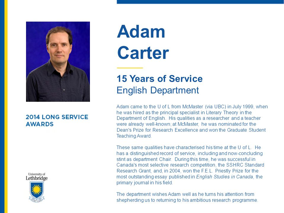 Adam Carter 15 Years of Service English Department