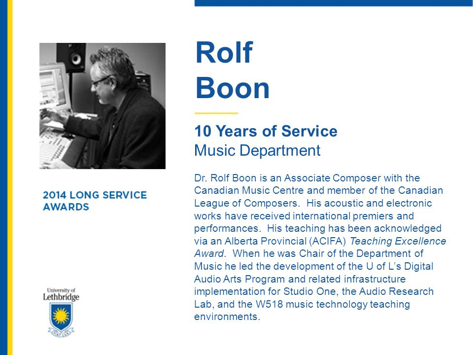 Rolf Boon 10 Years of Service Music Department