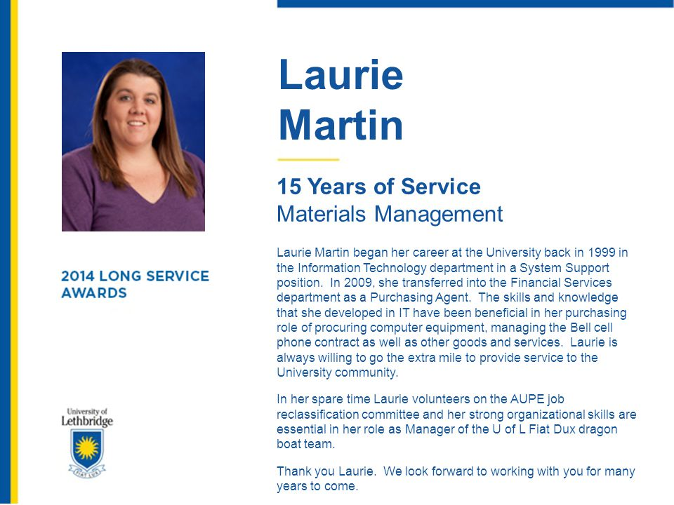 Laurie Martin 15 Years of Service Materials Management