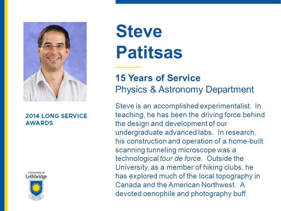 Steve Patitsas. 15 Years of Service. Physics & Astronomy Department.