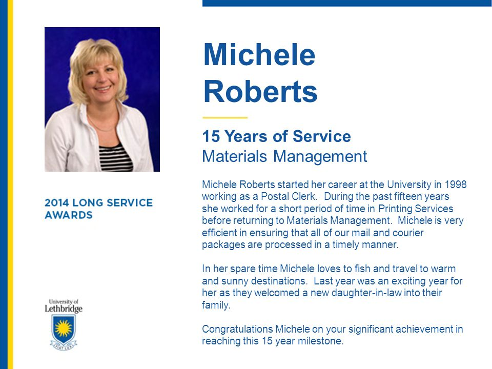 Michele Roberts 15 Years of Service Materials Management