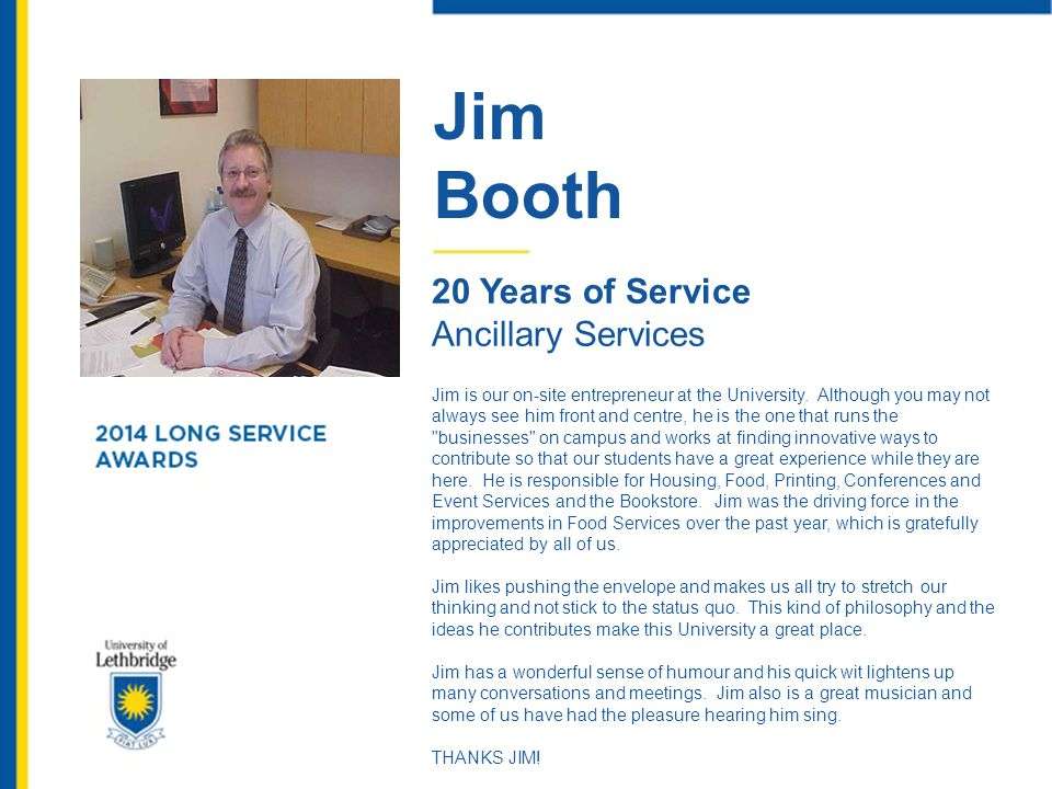 Jim Booth 20 Years of Service Ancillary Services
