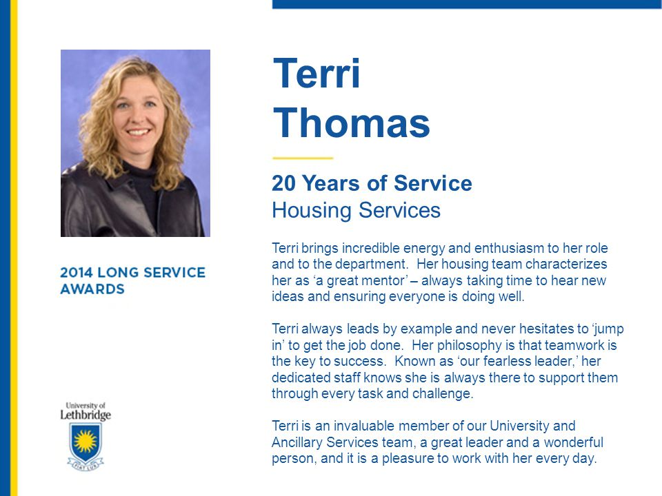Terri Thomas 20 Years of Service Housing Services
