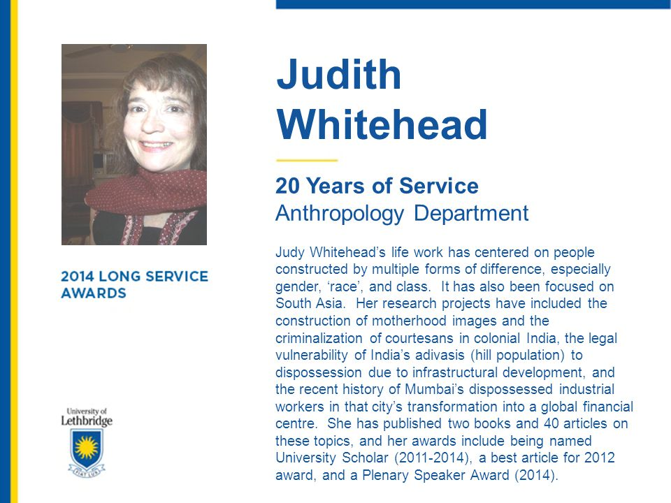 Judith Whitehead 20 Years of Service Anthropology Department