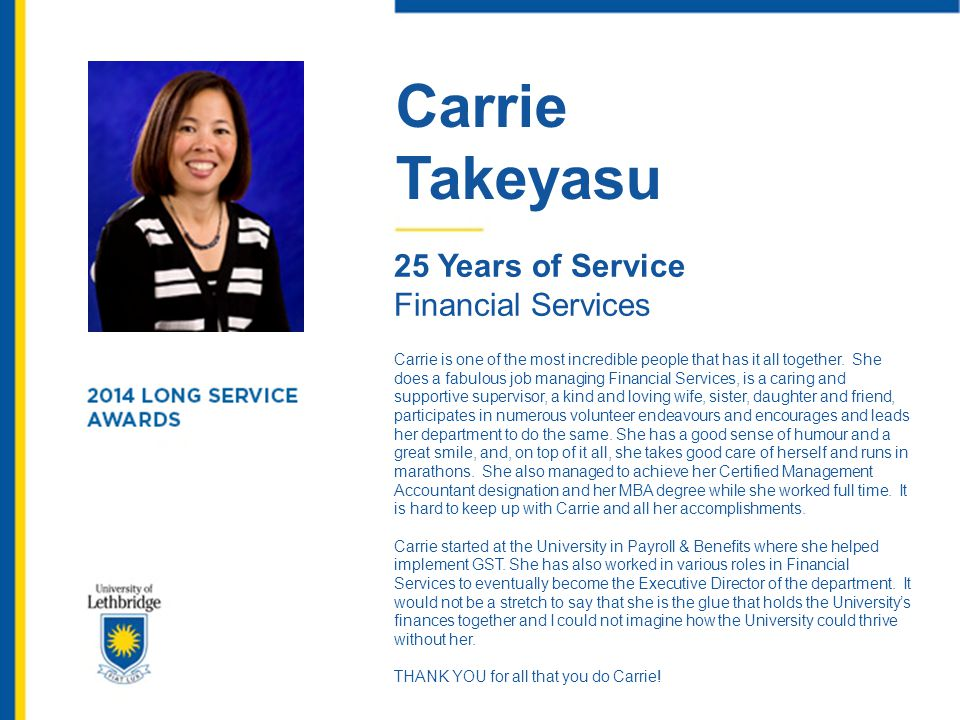 Carrie Takeyasu 25 Years of Service Financial Services