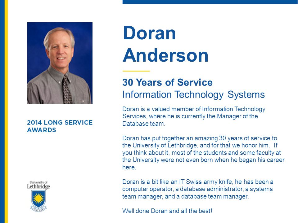 Doran Anderson 30 Years of Service Information Technology Systems