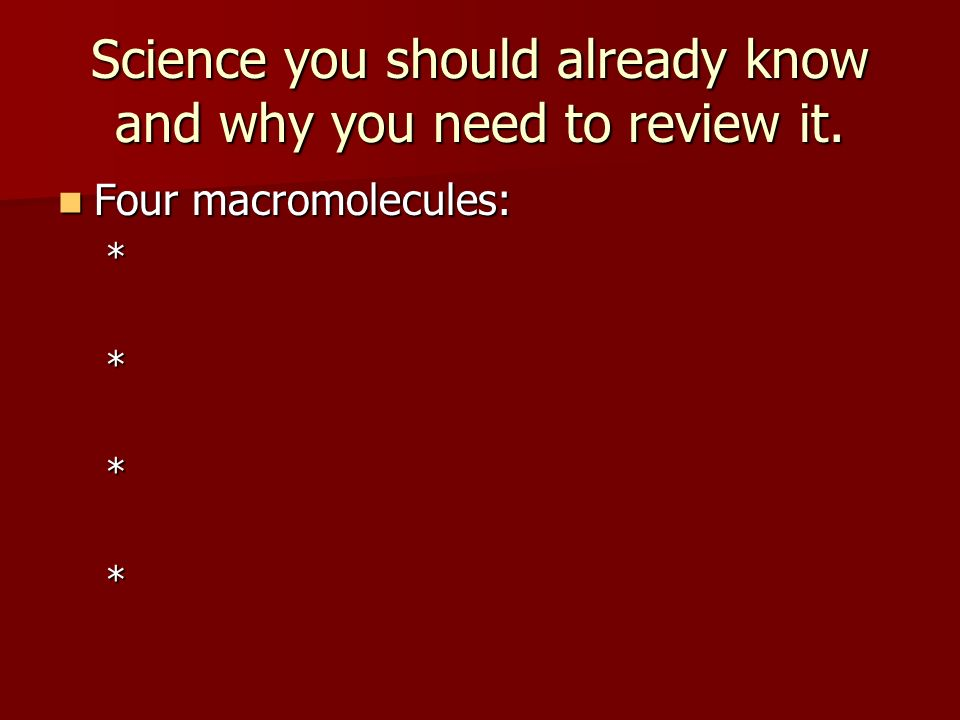 Science you should already know and why you need to review it.