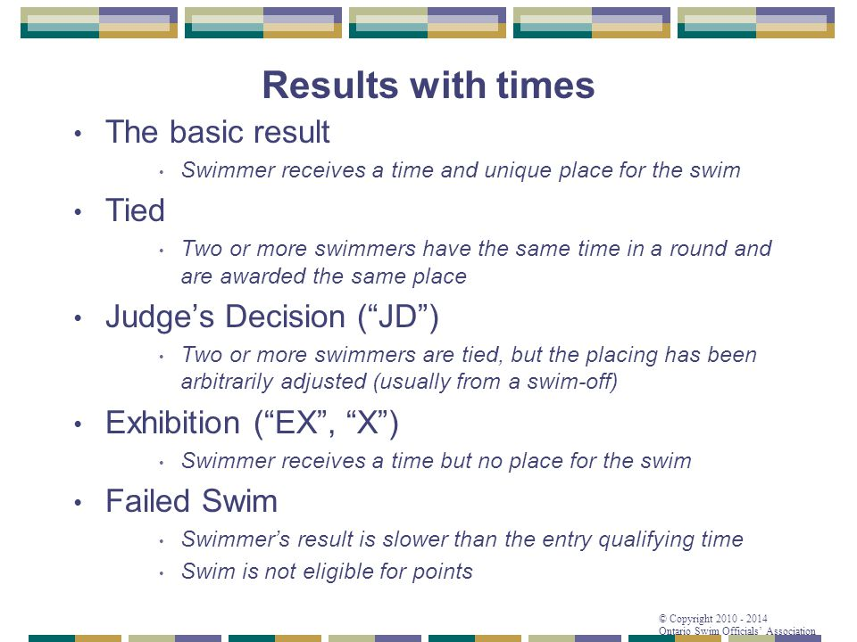 Results with times The basic result Tied Judge's Decision ( JD )