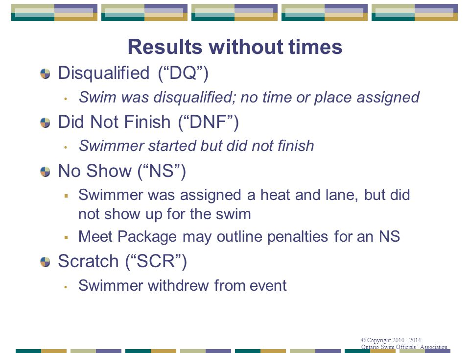 Results without times Disqualified ( DQ ) Did Not Finish ( DNF )