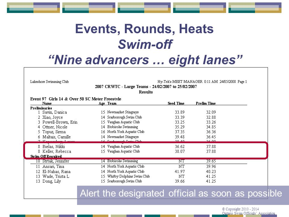 Events, Rounds, Heats Swim-off Nine advancers … eight lanes