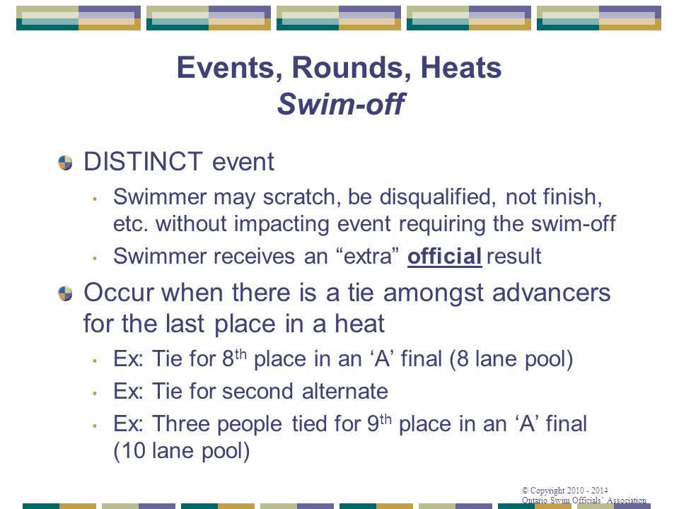 Events, Rounds, Heats Swim-off
