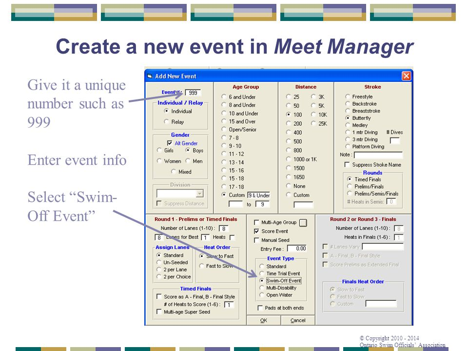 Create a new event in Meet Manager