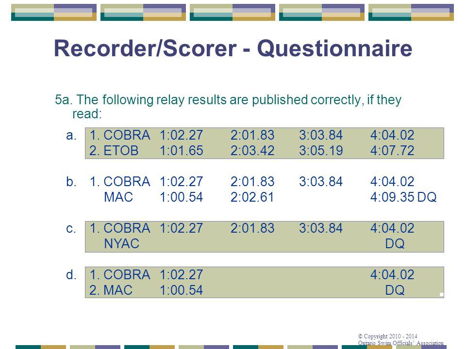 Recorder/Scorer - Questionnaire