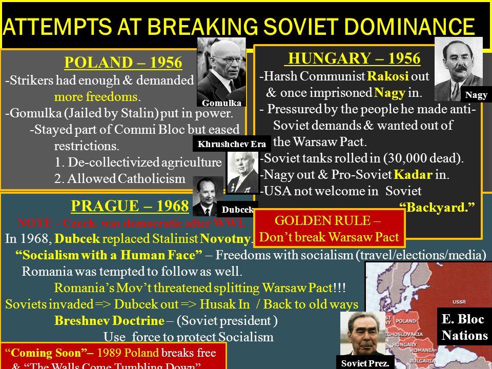 ATTEMPTS AT BREAKING SOVIET DOMINANCE