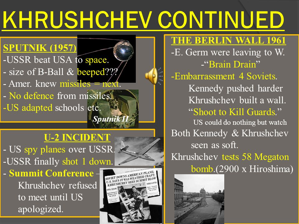 KHRUSHCHEV CONTINUED THE BERLIN WALL 1961 E. Germ were leaving to W.