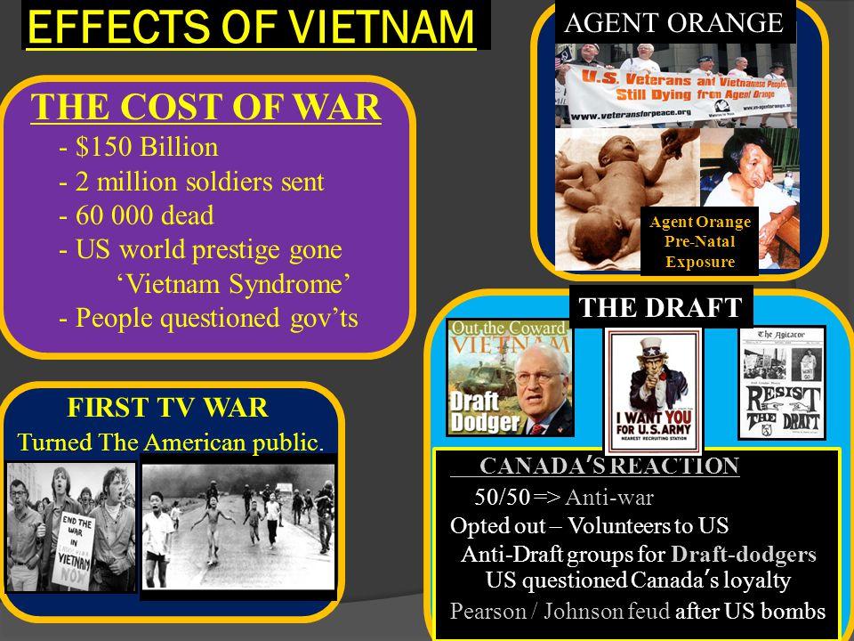 EFFECTS OF VIETNAM THE COST OF WAR AGENT ORANGE - $150 Billion