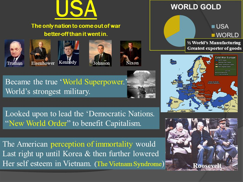 USA The only nation to come out of war better-off than it went in.