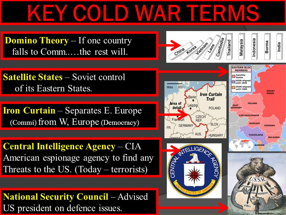 KEY COLD WAR TERMS Domino Theory – If one country