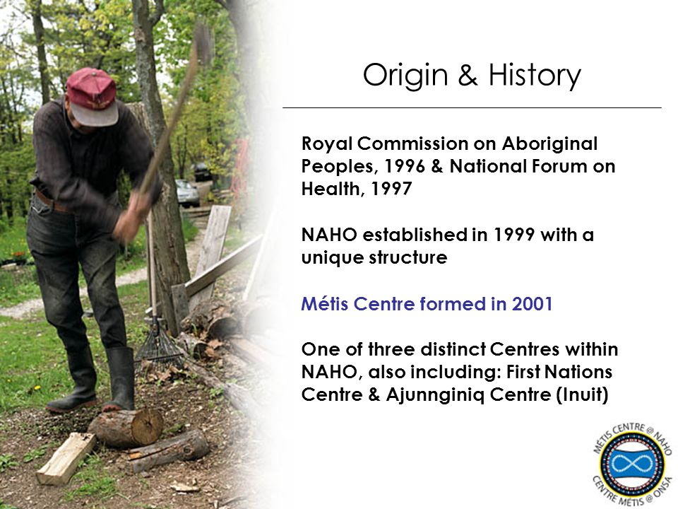 Origin & History Royal Commission on Aboriginal Peoples, 1996 & National Forum on Health, 1997. NAHO established in 1999 with a unique structure.