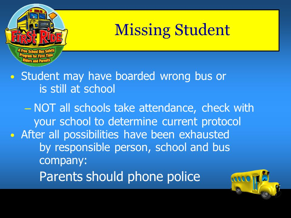 Missing Student Parents should phone police