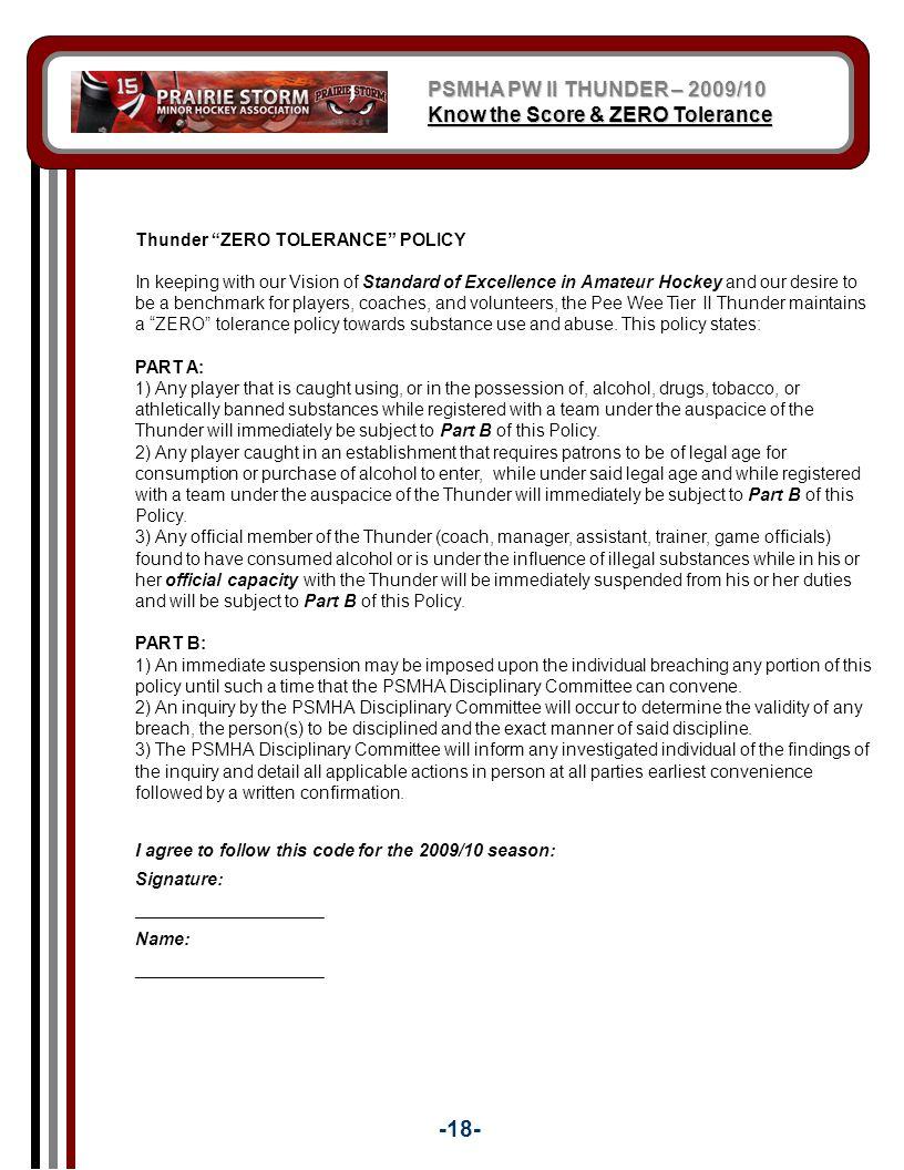 -18- PSMHA PW II THUNDER – 2009/10 Know the Score & ZERO Tolerance