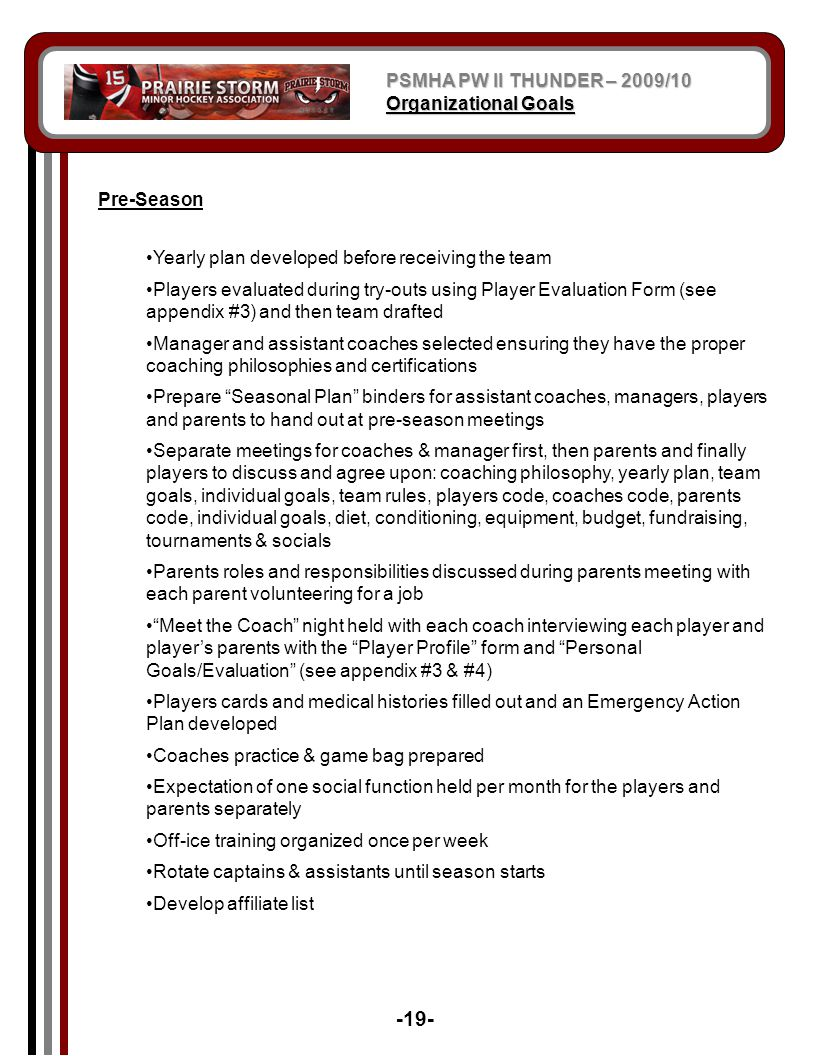 -19- PSMHA PW II THUNDER – 2009/10 Organizational Goals Pre-Season