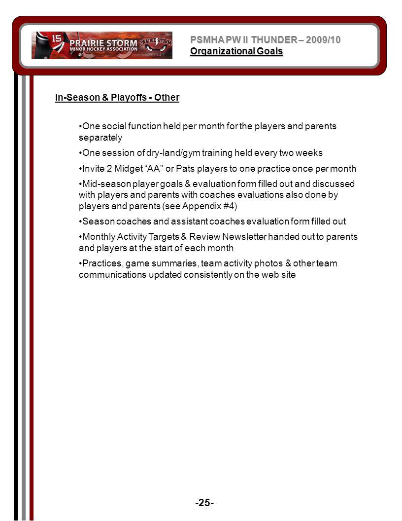 -25- PSMHA PW II THUNDER – 2009/10 Organizational Goals