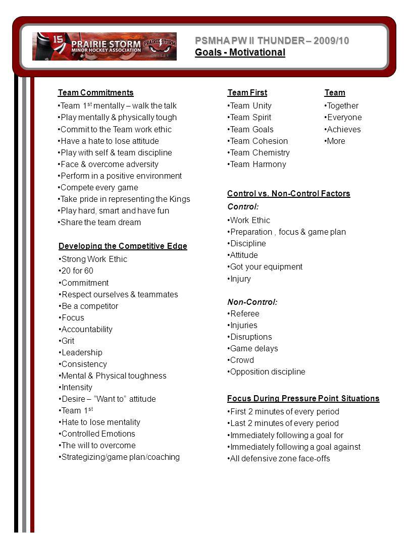 PSMHA PW II THUNDER – 2009/10 Goals - Motivational Team Commitments