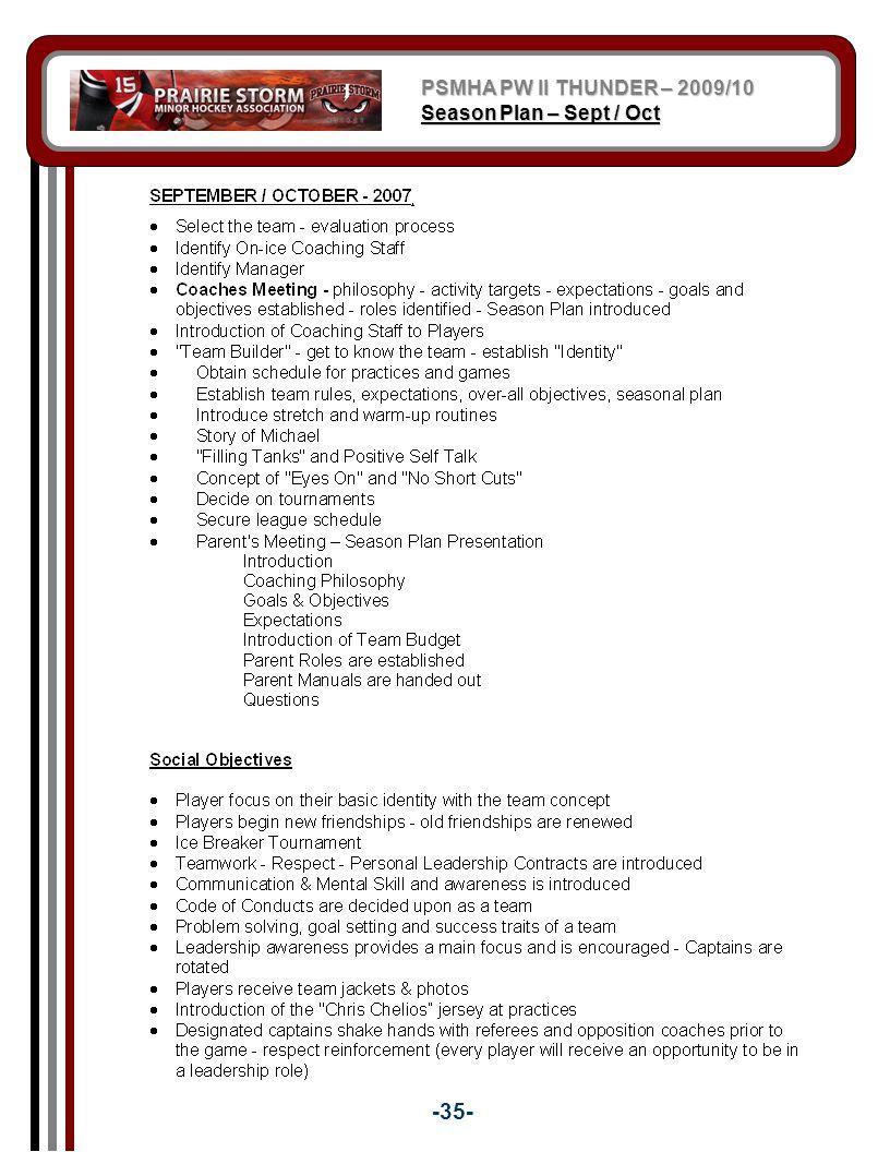 PSMHA PW II THUNDER – 2009/10 Season Plan – Sept / Oct -35-