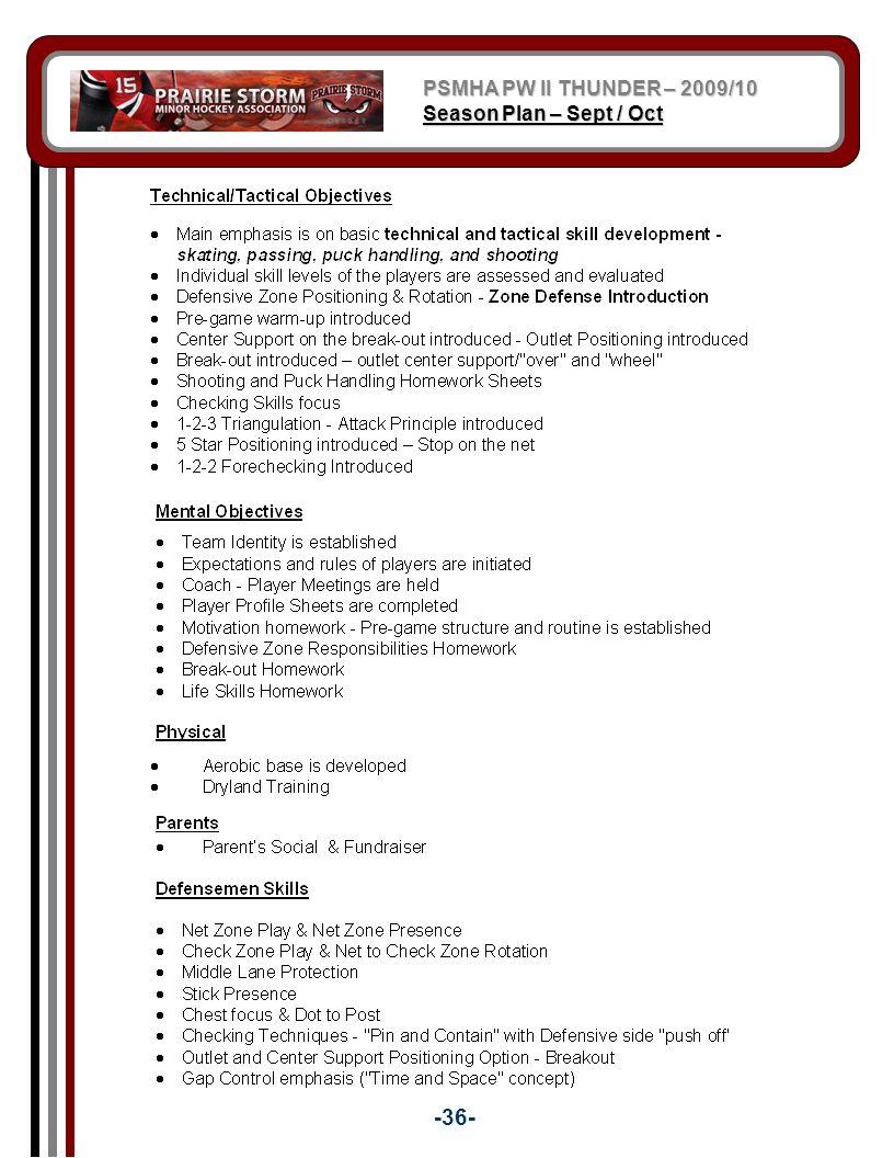 PSMHA PW II THUNDER – 2009/10 Season Plan – Sept / Oct -36-